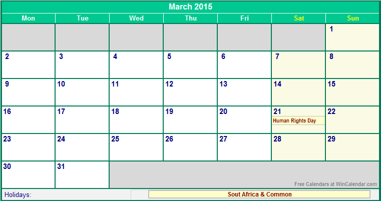 March 2015 South Africa Calendar With Holidays For Printing Image