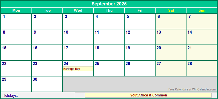 Free Printable 2020 Calendar With Holidays South Africa.September 2025 South Africa Calendar With Holidays For Printing