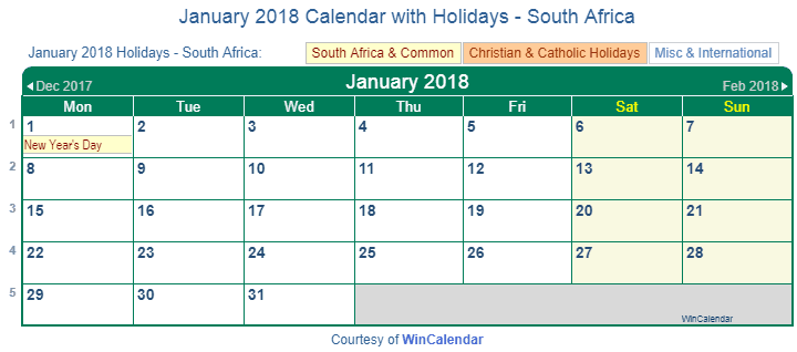 january 2018 calendar with south africa holidays to print