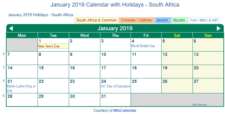 January Calendar 2019 South Africa Print Friendly January 2019 South Africa Calendar for printing