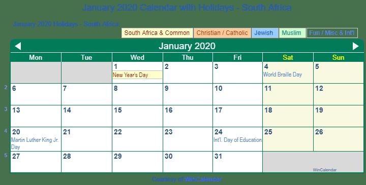 January Calendar 2020 South Africa Print Friendly January 2020 South Africa Calendar for printing