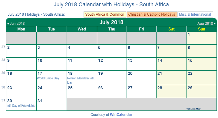 Calendar 2018 Printable South Africa