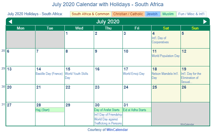 July 2020 Calendar with South Africa Holidays (Including Christian and religious)