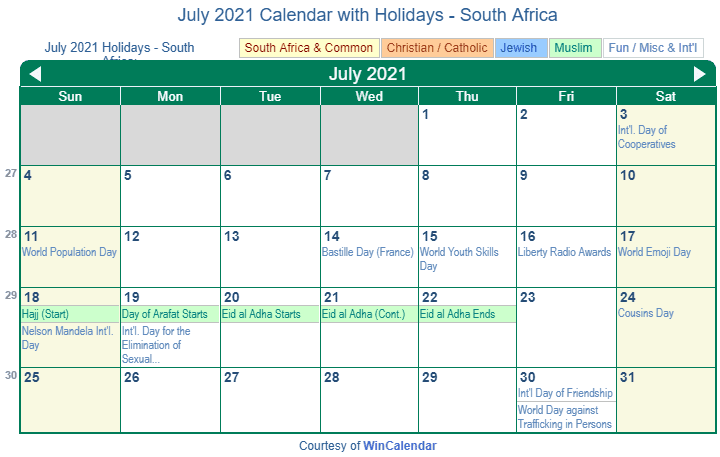 Print Friendly July 2021 South Africa Calendar for printing