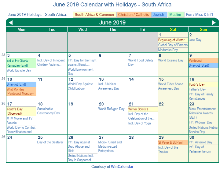 Print Friendly June 2019 South Africa Calendar For Printing