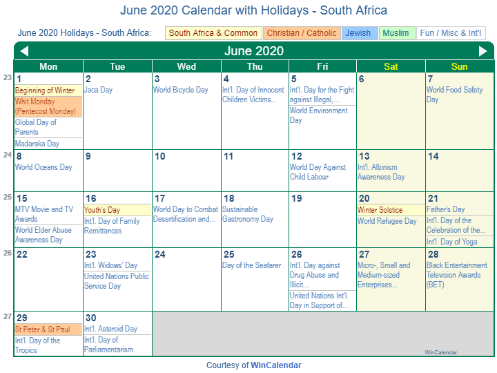 June 2020 Calendar with South Africa Holidays (Including Christian and religious)