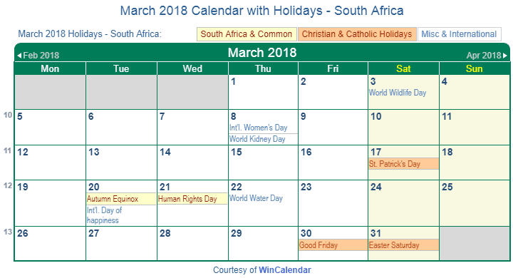 march 2018 calendar with south africa holidays to print