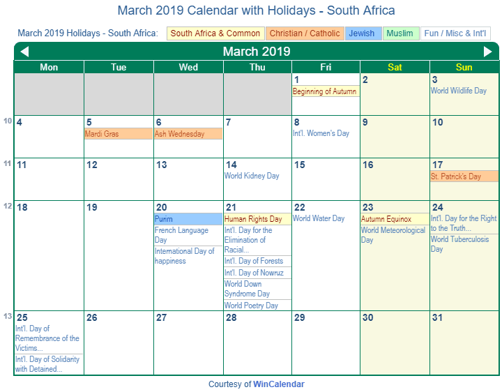 Print Friendly March 2019 South Africa Calendar for printing