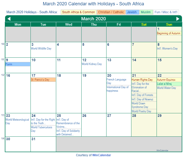 Calendar 2020 February And March.Print Friendly March 2020 South Africa Calendar For Printing
