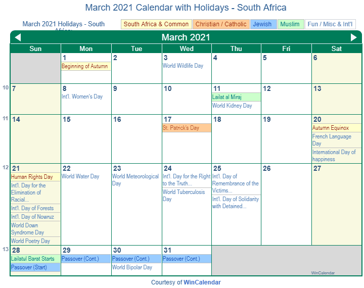 March 2021 Calendar with South Africa Holidays (Including Christian and religious)