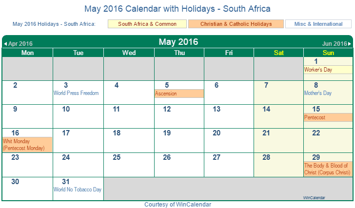 Print Friendly May 2016 South Africa Calendar for printing