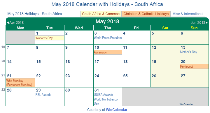 May Calendar South Africa : Print friendly may south africa calendar for printing