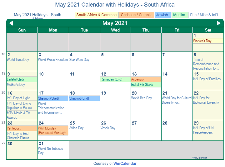 Print Friendly May 2021 South Africa Calendar for printing