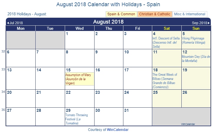 august 2018 calendar with spain holidays to print