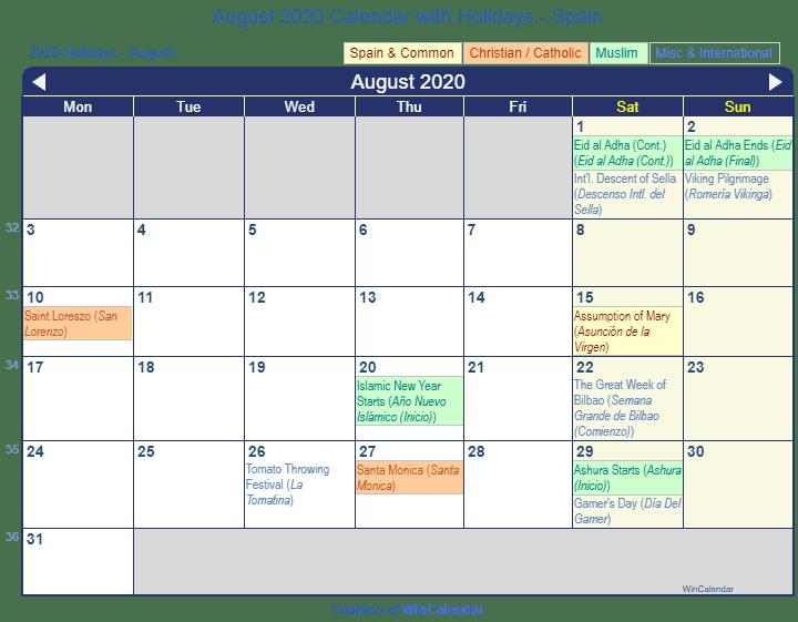 Calendar August 2020 Printable.Print Friendly August 2020 Spain Calendar For Printing
