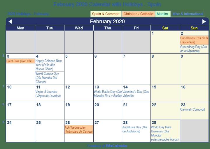 Calendar Template February 2020 Spanish Print Friendly February 2020 Spain Calendar for printing