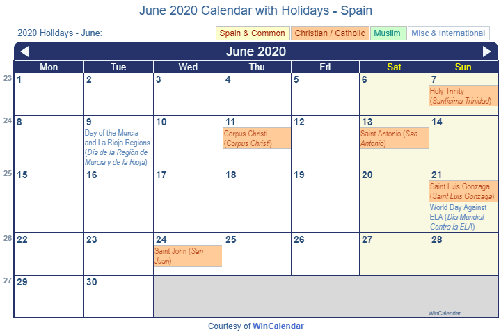 Print Friendly June 2020 Spain Calendar For Printing