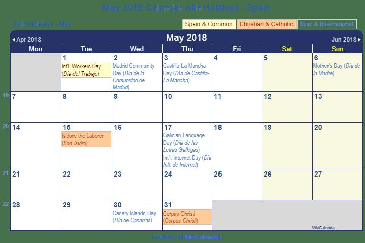 May Spanish Calendar : Holidays to spain may lifehacked st