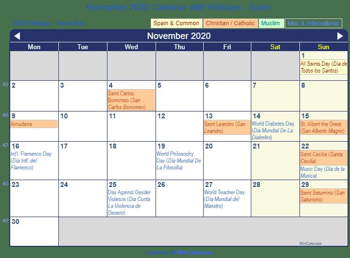 Dec 2020 Calendar With Holidays Print Friendly November 2020 Spain Calendar for printing