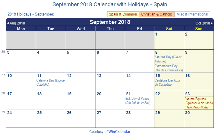 september 2018 calendar with spain holidays to print