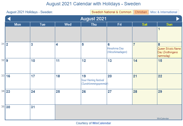Print Friendly August 2021 Sweden Calendar for printing