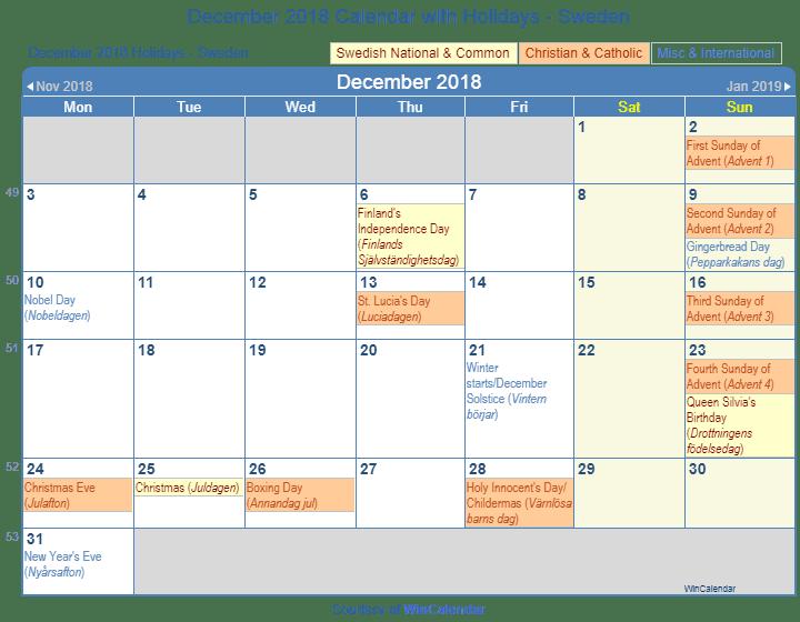 december 2018 calendar with swedish holidays to print