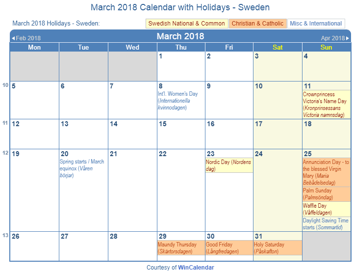 march 2018 calendar with swedish holidays to print