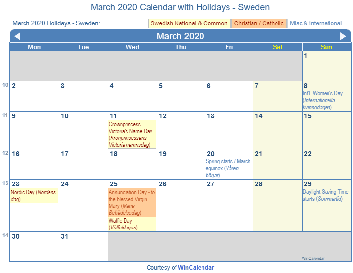 Print Friendly March 2020 Sweden Calendar For Printing