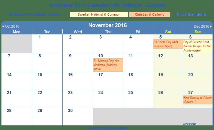 Print Friendly November 2016 Sweden Calendar for printing