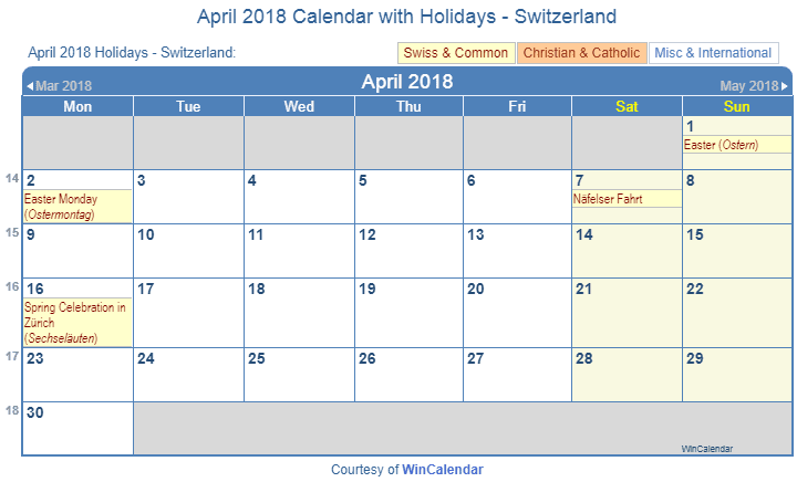 Print Friendly April 2018 Switzerland Calendar for printing
