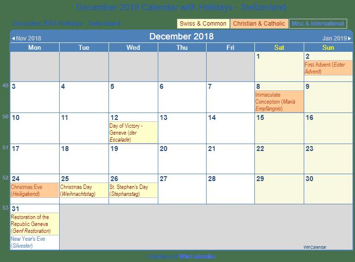 december 2018 calendar with holidays