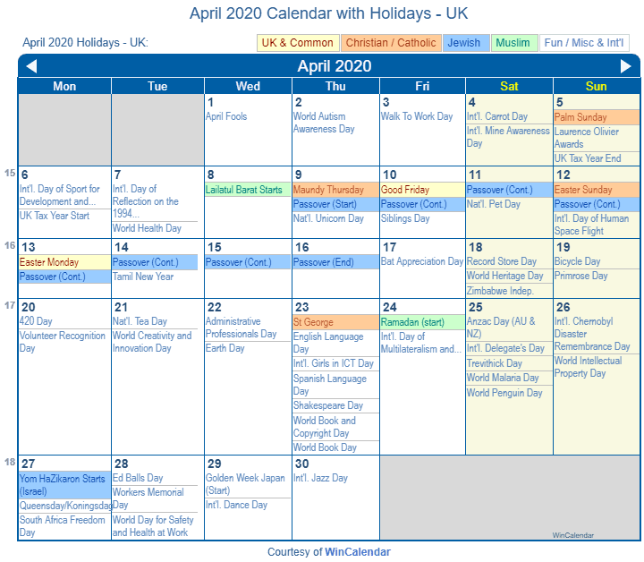 April 2020 Calendar with UK Holidays (Including Christian and religious)
