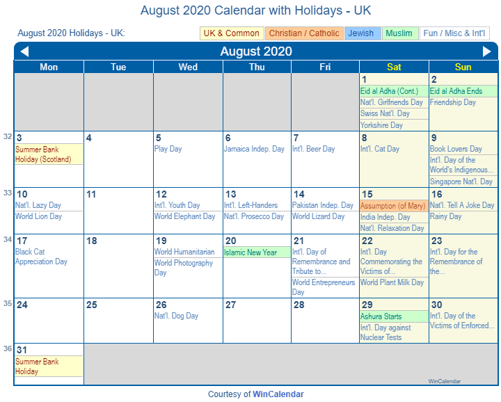 August 2020 Calendar with UK Holidays (Including Christian and religious)