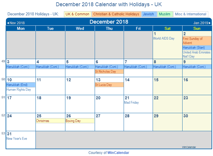 Print Friendly December 2018 Uk Calendar For Printing