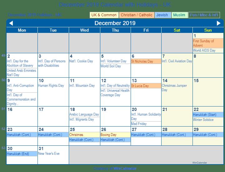 Print Friendly December 2019 Uk Calendar For Printing