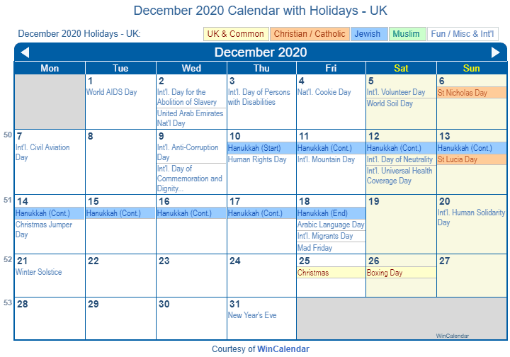December 2020 Calendar with UK Holidays (Including Christian and religious)