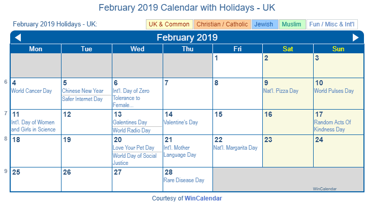 february 2019 calendar with uk holidays to print