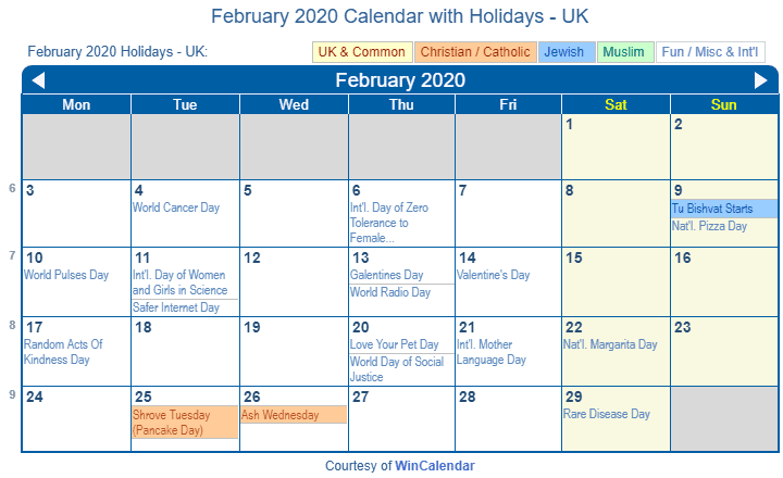 February 2020 Calendar with UK Holidays (Including Christian and religious)
