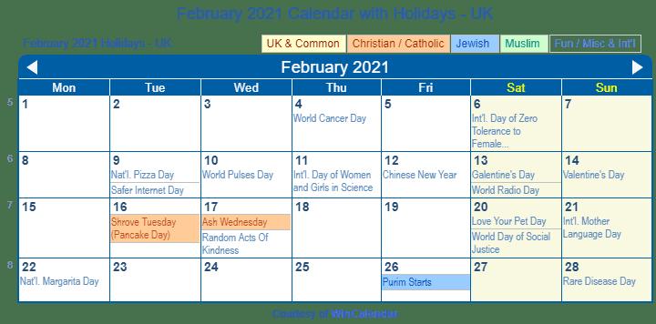 Religious Calendar 2021 Uk | Printable March