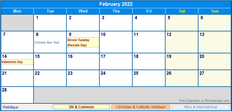 February 2022 UK Calendar with Holidays for printing ...