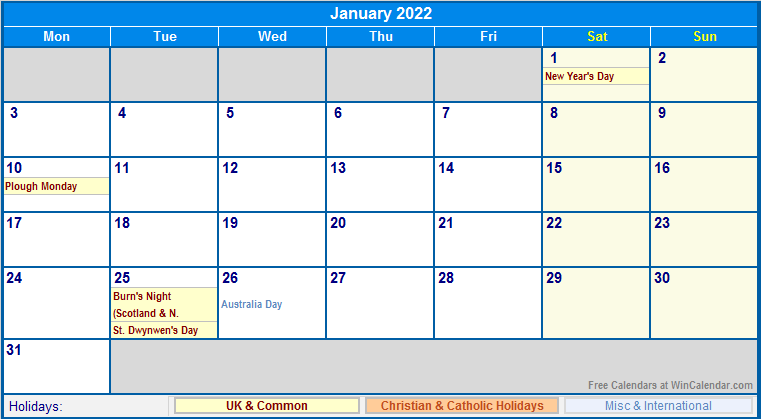 January 2022 UK Calendar with Holidays for printing (image ...