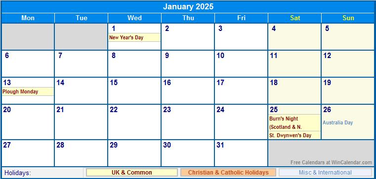 printable january 2025 calendar with holidays uk