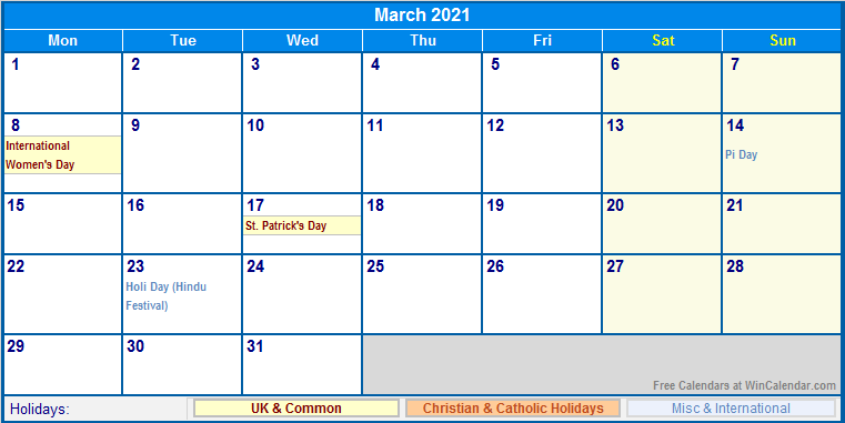 March 2021 UK Calendar with Holidays for printing (image ...
