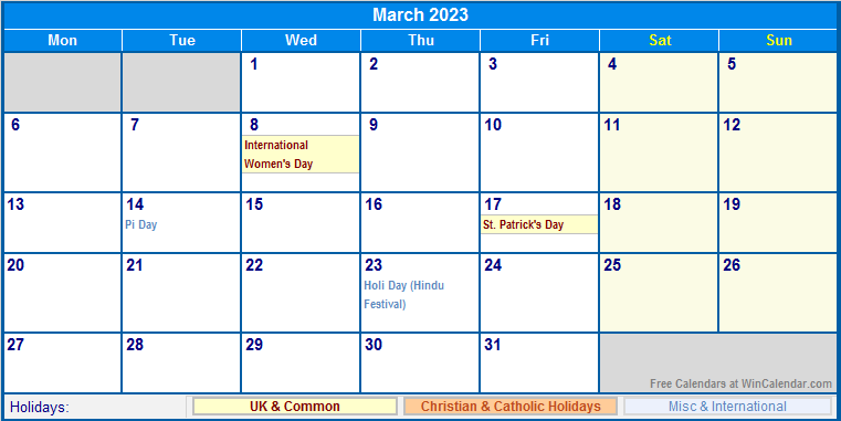 2023 2022 Calendar.March 2023 Uk Calendar With Holidays For Printing Image Format