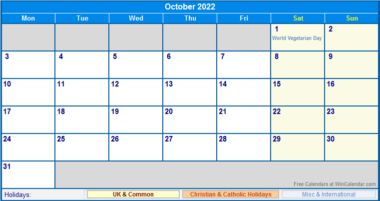 October 2022 UK Calendar with Holidays for printing (image ...