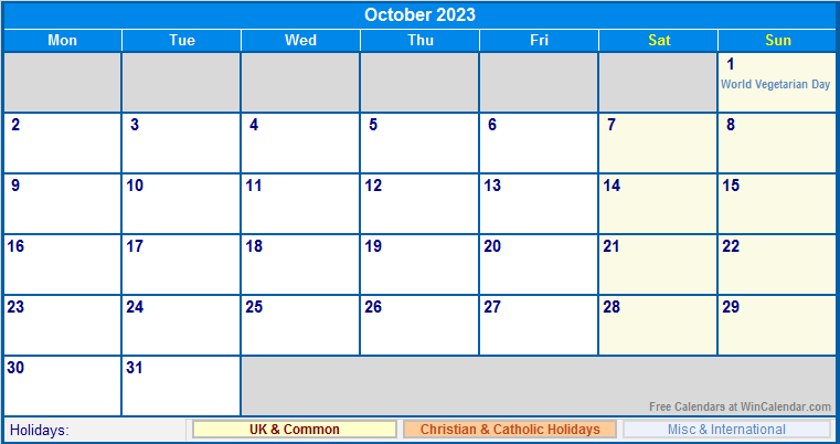October 2023 Uk Calendar With Holidays For Printing Image Format
