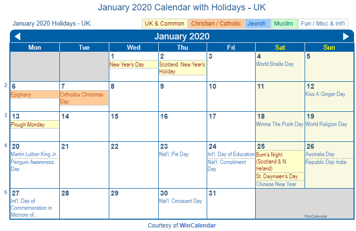 Catholic Calendar January 2020 Print Friendly January 2020 UK Calendar for printing