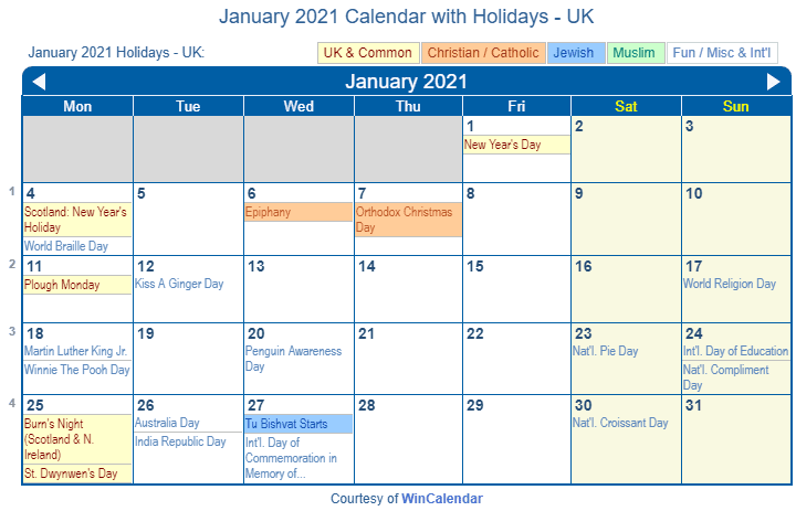 January 2021 Calendar with UK Holidays (Including Christian and religious)