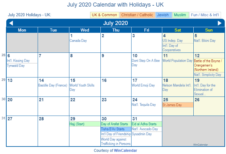 July 2020 Calendar with UK Holidays (Including Christian and religious)