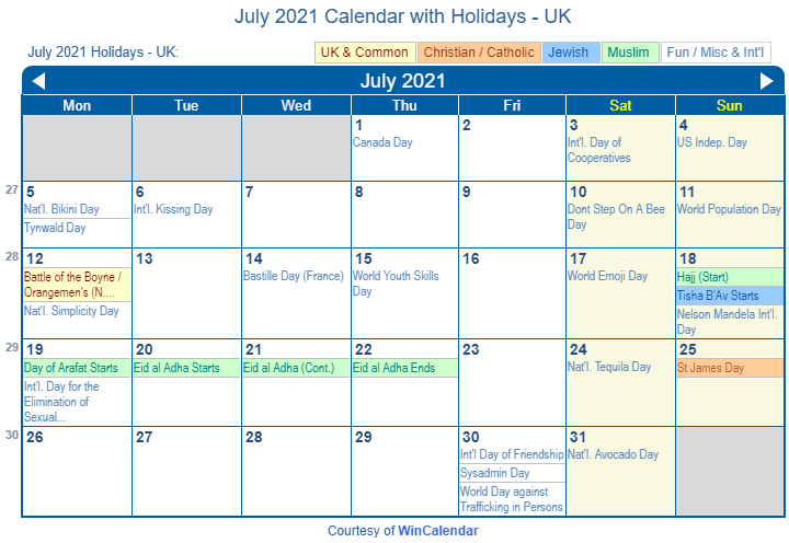 July 2021 Calendar with UK Holidays to Print